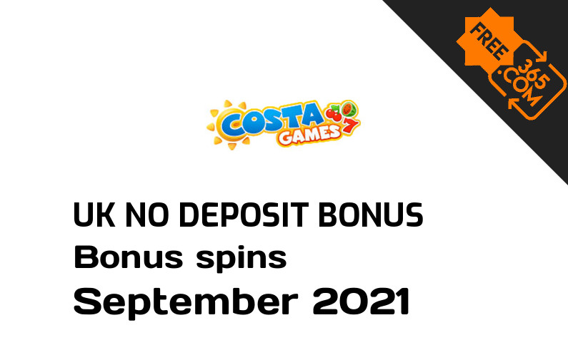 Costa Games UK no deposit bonus spins, 5 bonus spins no deposit UK