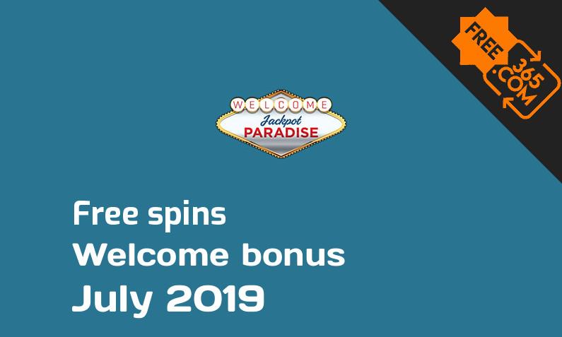 Jackpot Paradise Casino free spin bonus July 2019, 20 bonus spins