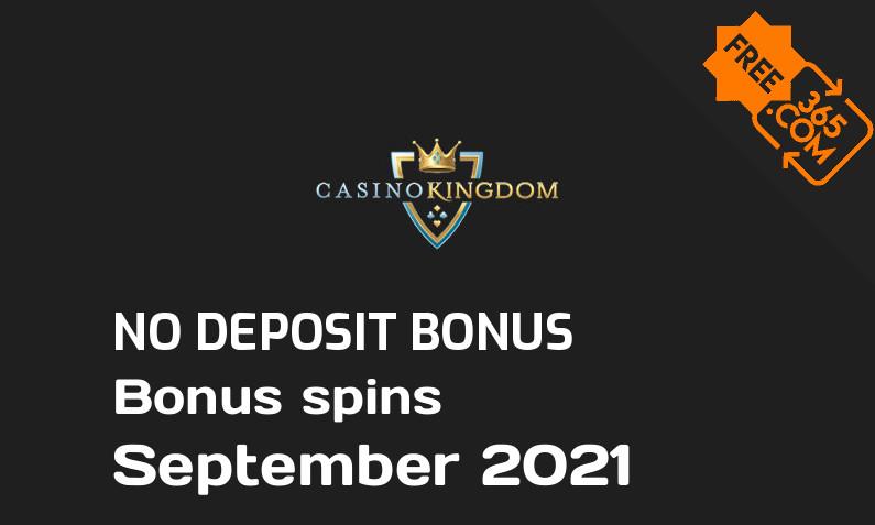 Latest no deposit bonus spins from Casino Kingdom September 2021, 1 no deposit bonus spins