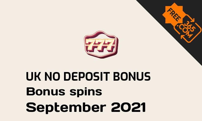 No deposit bonus spins for UK players from 777 Casino, 77 bonus spins no deposit UK