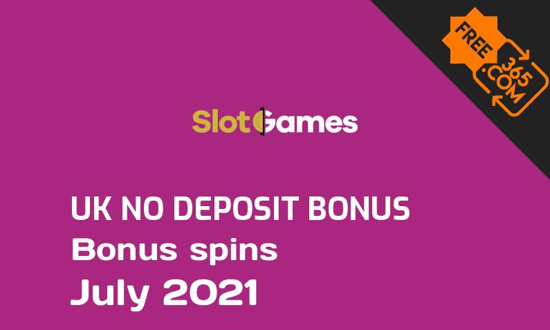 SlotGames UK bonus spins without deposit requirement July 2021, 20 bonus spins no deposit UK