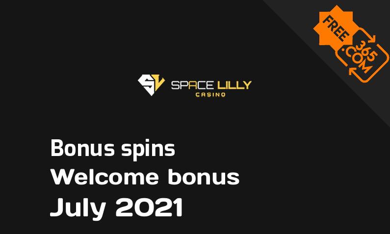 SpaceLilly Casino extra bonus spins, 77 spins