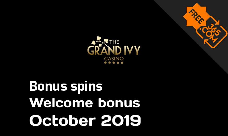 The Grand Ivy Casino extra spins October 2019, 25 bonusspins