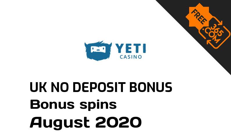 Yeti Casino bonus spins no deposit for UK players, 23 bonus spins no deposit UK